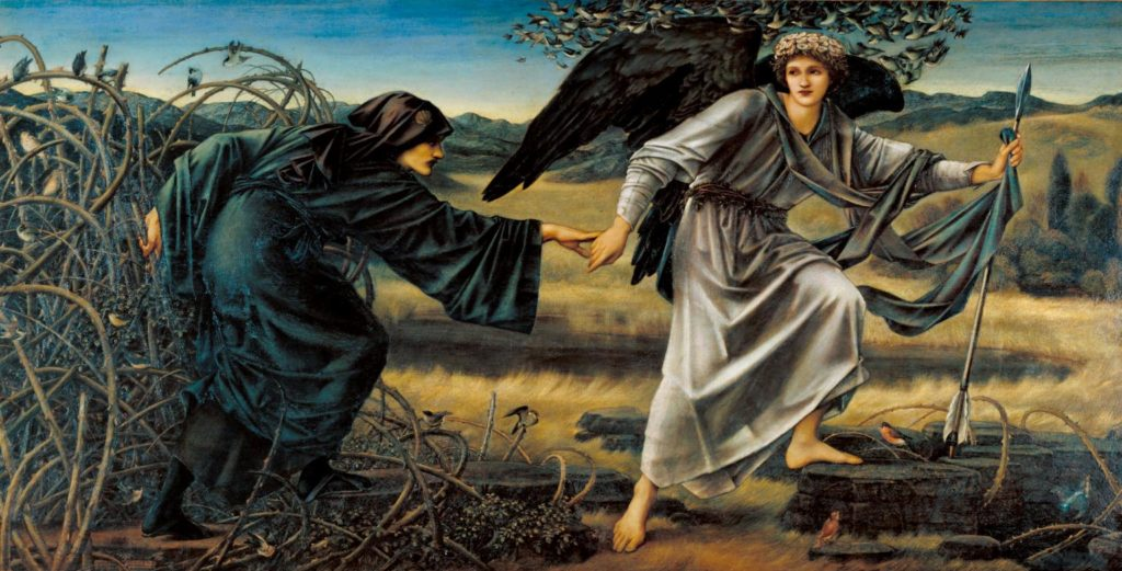 Love and the Pilgrim 1896-7 Sir Edward Coley Burne-Jones, Bt 1833-1898 Presented by the Art Fund 1942 http://www.tate.org.uk/art/work/N05381